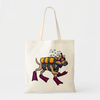 Scuba Diving Dog Tote Bag