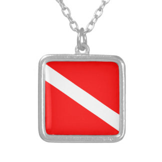 Scuba Diving Flag Silver Plated Necklace