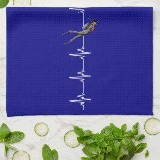 SCUBA Diving Heartbeat Kitchen Towel