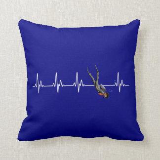 SCUBA Diving Heartbeat Throw Pillow