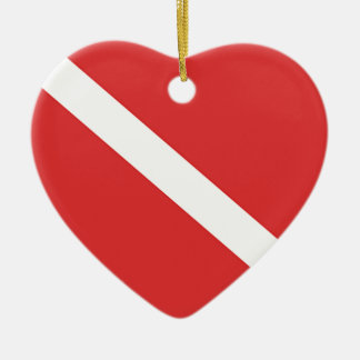 Scuba Diving Logo- Diver's Red White Flag Ceramic Ornament