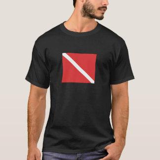 Scuba Diving Logo- Diver's Red White Flag T-Shirt