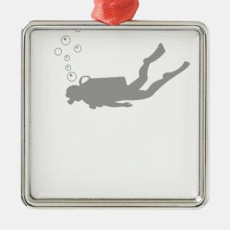 scuba diving metal ornament