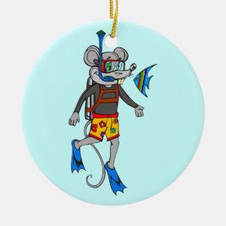 Scuba Diving Mouse Ceramic Ornament