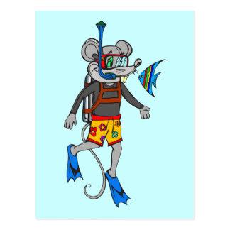 Scuba Diving Mouse Postcard