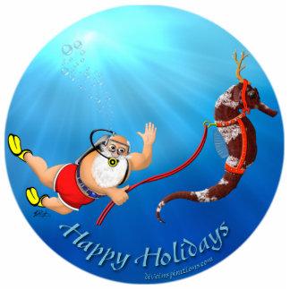 Scuba Diving Santa & Seahorse Ornament Photo Sculpture Ornament
