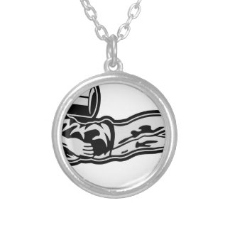scuba diving silver plated necklace