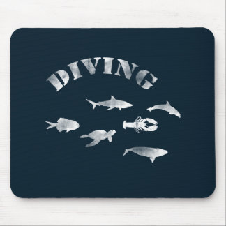 Scuba Diving, Swimming Fishes. Sea Life, Fish Mouse Pad