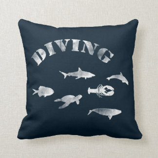 Scuba Diving, Swimming Fishes. Sea Life, Fish Throw Pillow