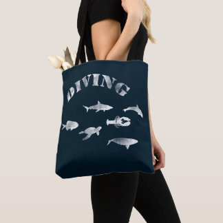 Scuba Diving, Swimming Fishes. Sea Life, Fish Tote Bag