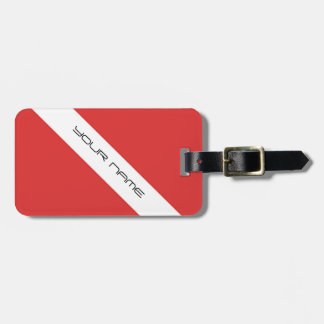 Scuba Diving Symbol- Flag Divers Emblem Red White Luggage Tag