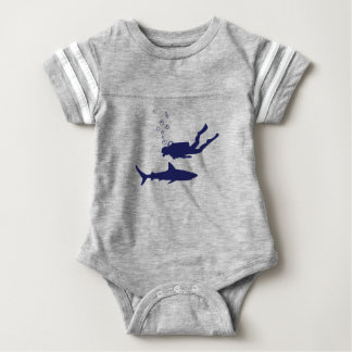 scuba diving with sharks baby bodysuit