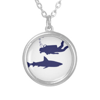 scuba diving with sharks silver plated necklace