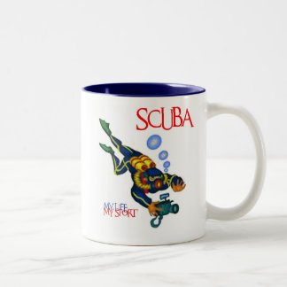 SCUBA MY LIFE MY SPORT Two-Tone COFFEE MUG