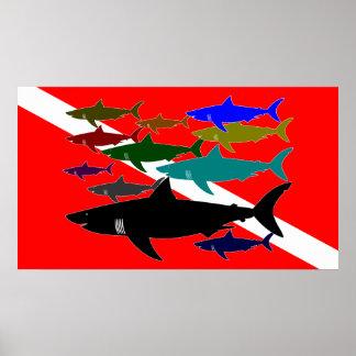 Scuba / Sharks Poster