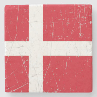 Scuffed and Scratched Danish Flag Stone Coaster
