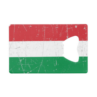 Scuffed and Scratched Hungarian Flag Credit Card Bottle Opener