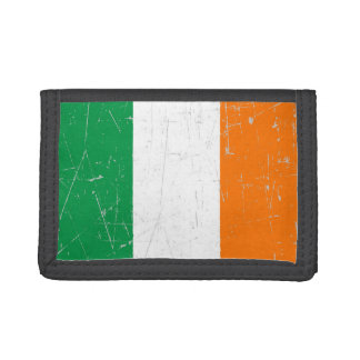 Scuffed and Scratched Irish Flag Trifold Wallets