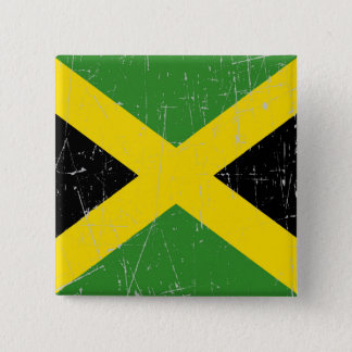 Scuffed and Scratched Jamaican Flag 2 Inch Square Button