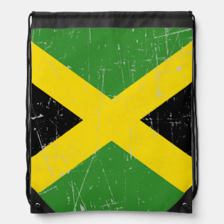 Scuffed and Scratched Jamaican Flag Drawstring Backpack