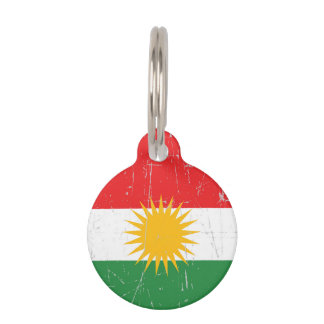 Scuffed and Scratched Kurdish Flag Pet Tag