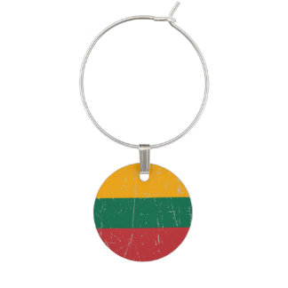 Scuffed and Scratched Lithuanian Flag Wine Charms