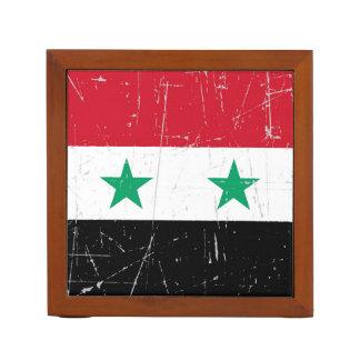 Scuffed and Scratched Syrian Flag Desk Organizer