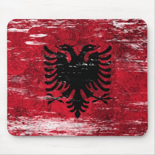 Scuffed and Worn Albanian Flag Mousepads