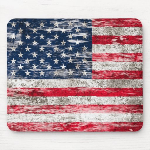 Scuffed and Worn American Flag Mousepad