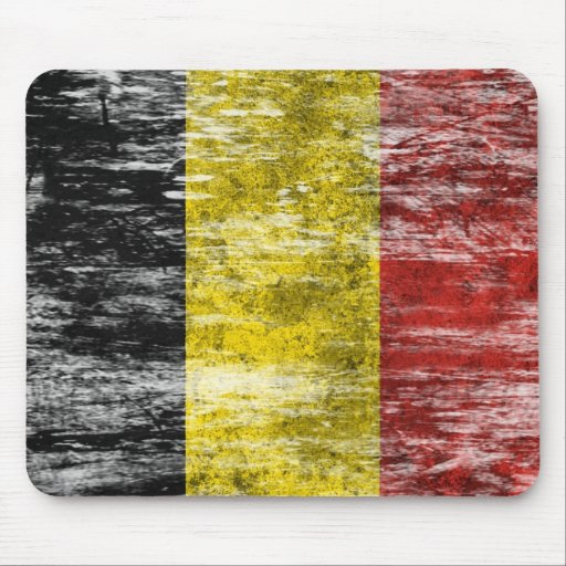 Scuffed and Worn Belgian Flag Mouse Pads