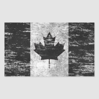 Scuffed and Worn Canadian Flag, black Sticker