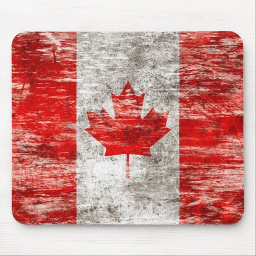 Scuffed and Worn Canadian Flag Mousepad
