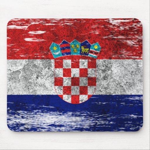 Scuffed and Worn Croatian Flag Mousepad