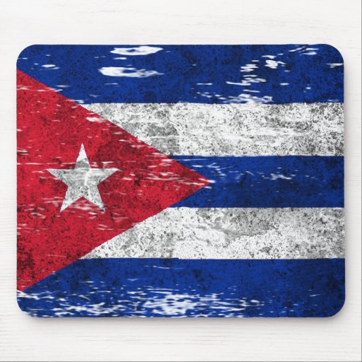 Scuffed and Worn Cuban Flag Mouse Pad