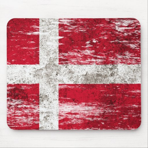 Scuffed and Worn Danish Flag Mouse Pads