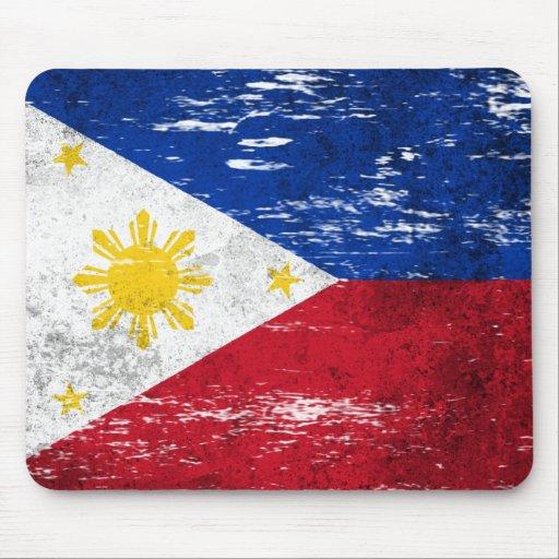 Scuffed and Worn Filipino Flag Mousepad