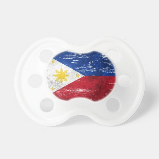 Scuffed and Worn Filipino Flag Baby Pacifier