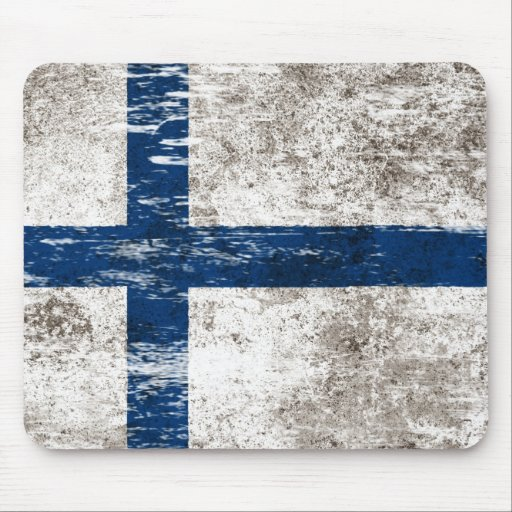 Scuffed and Worn Finnish Flag Mousepads
