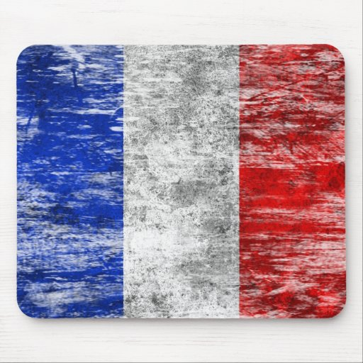 Scuffed and Worn French Flag Mousepad