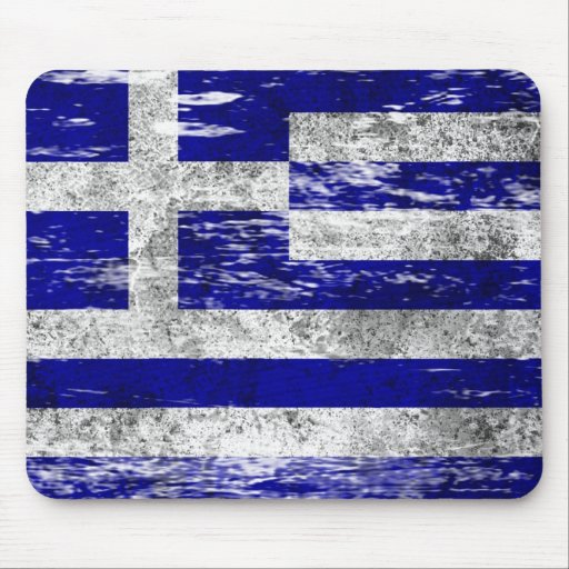 Scuffed and Worn Greek Flag Mouse Pad