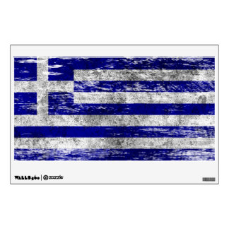 Scuffed and Worn Greek Flag Wall Sticker