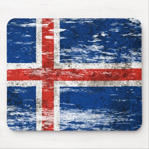 Scuffed and Worn Icelandic Flag Mousepad
