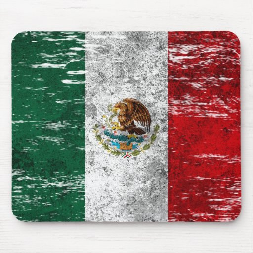 Scuffed and Worn Mexican Flag Mouse Pads