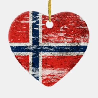 Scuffed and Worn Norwegian Flag Ceramic Heart Ornament