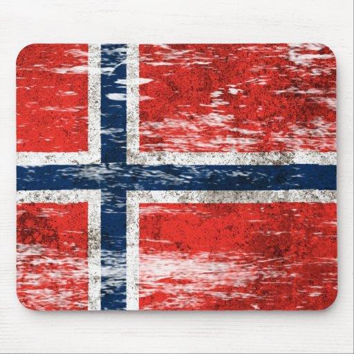 Scuffed and Worn Norwegian Flag Mousepad