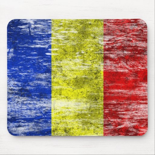 Scuffed and Worn Romanian Flag Mouse Pad