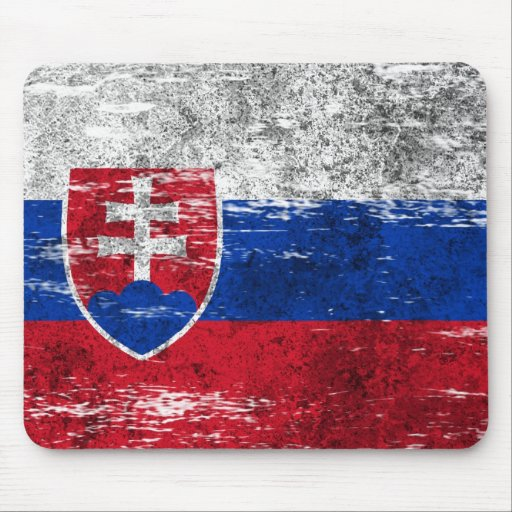 Scuffed and Worn Slovakian Flag Mousepads