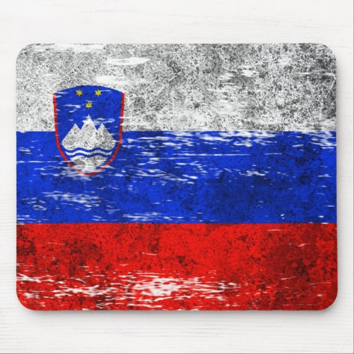 Scuffed and Worn Slovenian Flag Mouse Pad