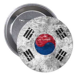 Scuffed and Worn South Korean Flag 3 Inch Round Button