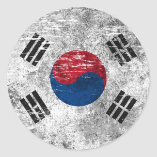 Scuffed and Worn South Korean Flag Classic Round Sticker